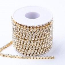 mdgja010 apie 2.3~2.4 mm pločio, auksinė spalva metalinis pagrindas, akutės skaidri spalva, 1 m.