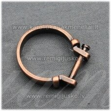 mdv0126 about 25 x 4 mm, copper color, adjustable ring base, troll / pandora beads, 1 pc.