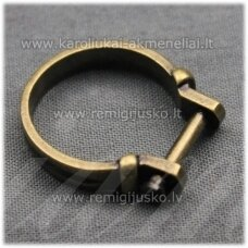 mdv0128 about 25 x 4 mm, antique bronze color, adjustable ring base, troll / pandora beads, 1 pc.