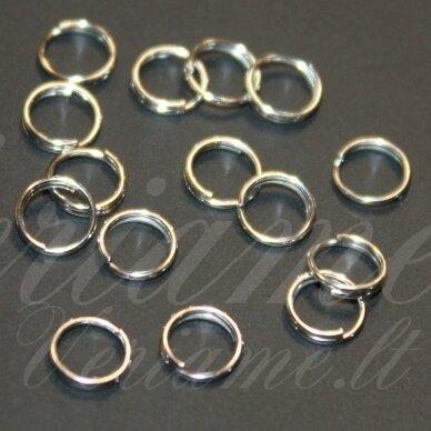 md0002 apie 6 mm, sidabrinė spalva, dvigubas žiedelis, apie 200 vnt.