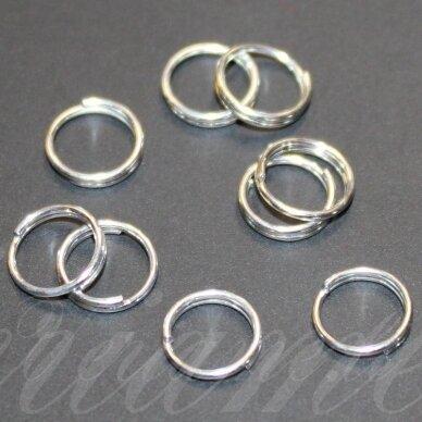 md0004 apie 8 mm, sidabrinė spalva, dvigubas žiedelis, apie 80 vnt.