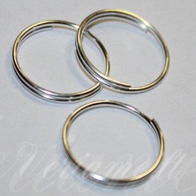 md0008 apie 14 x 1.6 mm, sidabrinė spalva, dvigubas žiedelis, 38 vnt.