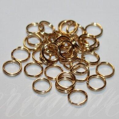 md0015.5 apie 10 x 0.7 mm, rusiško aukso spalva, dvigubas žiedelis, apie 100 vnt.