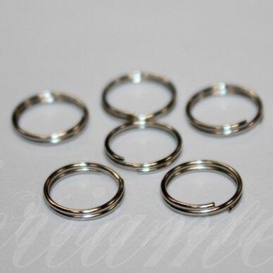 MD0022 apie 10 mm, metalo spalva, dvigubas žiedelis, apie 60 vnt.
