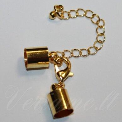 md0244.9 apie 32 x 7 mm, skylė 2.5 mm, auksinė spalva, užsegimas, 1 vnt.