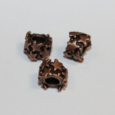 md1305 about 4.5 x 9 mm, hole 6 mm. copper color, insert, 4 pcs.