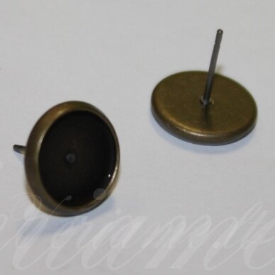 md1928.8 apie 12 x 14 mm, žalvario spalva, auskaro detalė, tinka 12 mm disko formos kabošonui, 4 vnt.
