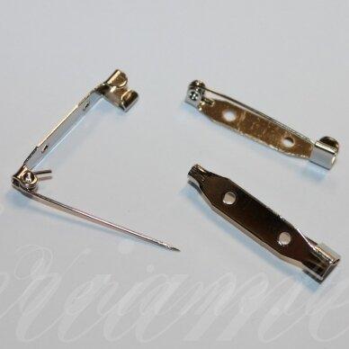 md2252.25 apie 25 mm, metalo spalva, 2 skylių ruošinys sagei, 12 vnt.