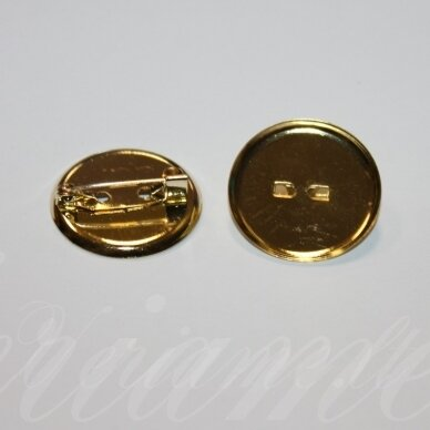md2262.8 apie 24 mm, šviesi, auksinė spalva, sagės pagrindas, 8 vnt.