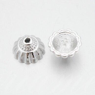 md2434.5 apie 10 x 5.5 mm, sidabrinė spalva, kepurėlė, 6 vnt.