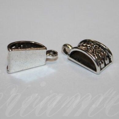md3104 apie 20 x 10 mm, sendinta sidabrinė spalva, pakabukas, 2 vnt.