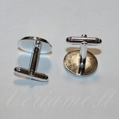 md3417.9 apie 19 x 18 mm, tinka 16 mm disko formos kabošonui, sidabrinė spalva, sąsaga, 2 vnt.