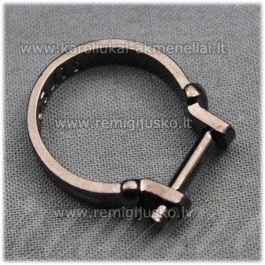 mdv0125 apie 25 x 4 mm, juoda spalva, žiedo pagrindas, trolio / pandoros karoliukui, 1 vnt.