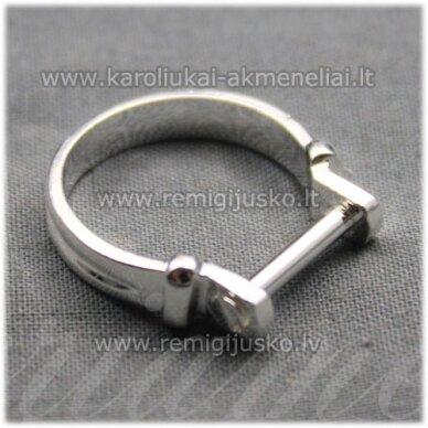MDV0127 apie 25 x 4 mm, sidabrinė spalva, žiedo pagrindas, trolio / pandoros karoliukui, 1 vnt.