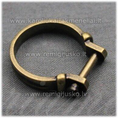 MDV0128 apie 25 x 4 mm, žalvario spalva, žiedo pagrindas, trolio / pandoros karoliukui, 1 vnt.