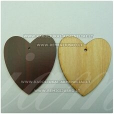 med0049 about 58 x 52.5 x 2 mm, wooden pendant, hearts shape, 1 pc.