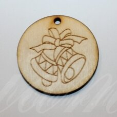 med0057 about 50 x 4 mm, round shape, bells, wooden pendant, 1 pc.
