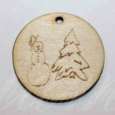 med0058 about 50 x 4 mm, round shape, tree and snow man, wooden pendant, 1 pc.