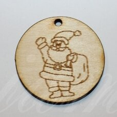 med0060 about 50 x 4 mm, round shape, santa claus, wooden pendant, 1 pc.