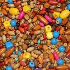 medk-mix various sizes, various colors mix wooden bead, 500 gram,