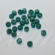 medk0001 apie 5 x 7 mm, rondelės forma, žydra spalva, medinis karoliukas, apie 20 g.