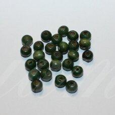 MEDK0013 apie 6 x 7 mm, rondelės forma, tamsi, žalia spalva, medinis karoliukas, apie 20 g.