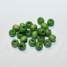 medk0014 apie 6 x 7 mm, rondelės forma, žalia spalva, medinis karoliukas, apie 20 g.