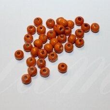 medk0031-06 apie 6 x 7 mm, rondelės forma, oranžinė spalva, medinis karoliukas, 20g.