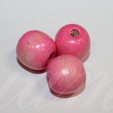 medk0314 apie 18 mm, apvali forma, šviesi, rožinė spalva, medinis karoliukas, apie 11 vnt.