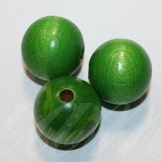 medk0054 about 25 mm, round shape, green color, wooden bead, 2 pcs.