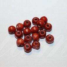 MEDK0083 apie 7 x 9 mm, rondelės forma, raudonai ruda spalva, medinis karoliukas, apie 20 g.