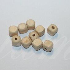 medk0104 apie 10 mm, kubo forma, gelsva spalva, medinis karoliukas, 20g.