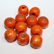 medk0358 apie 13 mm, apvali forma, oranžinė spalva, medinis karoliukas, apie 25 vnt.