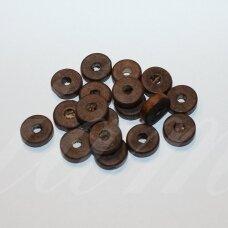 medk0106 apie 11 x 4 mm, cilindro forma, tamsi, ruda spalva, medinis karoliukas, 20g.