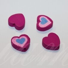 medk0113 about 16x17x6 mm, hearts shape, colourful, pink color, wooden bead, 4 pcs.