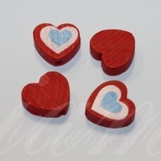 medk0116 about 16x17x6 mm, hearts shape, colourful, red color, wooden bead, 4 pcs.