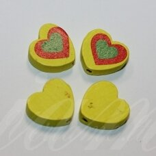 medk0117 about 16x17x6 mm, hearts shape, colourful, yellow color, wooden bead, 4 pcs.