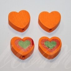 medk0118 about 16x19x6 mm, hearts shape, orange color, wooden bead, 6 pcs.