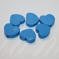 medk0119 about 16x19x6 mm, hearts shape, blue color, wooden bead, 6 pcs.