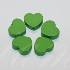 medk0120 about 16x19x6 mm, hearts shape, green color, wooden bead, 6 pcs.