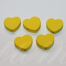 medk0121 about 16x19x6 mm, hearts shape, yellow color, wooden bead, 6 pcs.