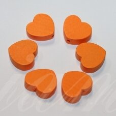 medk0122 about 16x19x6 mm, hearts shape, orange color, wooden bead, 6 pcs.
