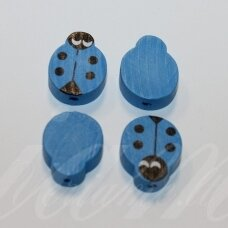 medk0126 about 19x15x6 mm, ladybird shape, blue color, wooden bead, 4 pcs.