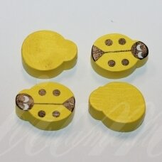 medk0128 about 19x15x6 mm, ladybird shape, yellow color, wooden bead, 4 pcs.