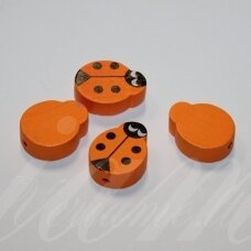medk0129 about 19x15x6 mm, ladybird shape, orange color, wooden bead, 4 pcs.