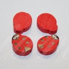 MEDK0131 apie 19x15x6 mm, boružės forma, raudona spalva, medinis karoliukas, 4 vnt.