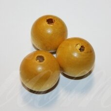 medk0134 about 25 mm, round shape, yellow color, wooden bead, 2 pcs.