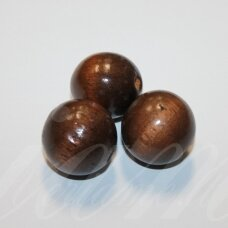 medk0135 about 25 mm, round shape, brown color, wooden bead, 2 pcs.