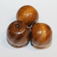 medk0351 apie 17-19 mm, apvali forma, ruda spalva, medinis karoliukas, 10 vnt.