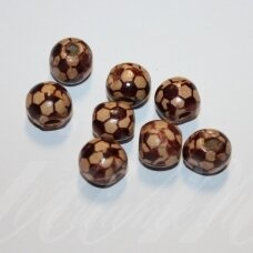 medk0137 about 12 - 13 mm, round shape, colourful, wooden bead, 19 pcs.